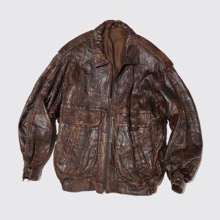 vintage patchwork leather aviator jacket