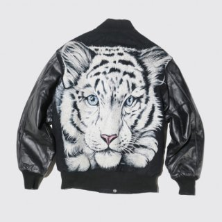 vintage tiger leather sleeve jacket