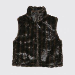 vintage black mountain fur vest