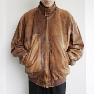 old leather loose aviator jacket