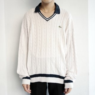 old lacoste cotton tilden sweater with collar