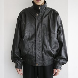 old stand collar leather jacket