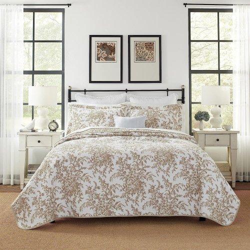 SALE!Laura Ashley(ローラアシュレイ) 100%コットンキルトベットカバー2〜3点セット*Bedford  Cotton Quilt Set / Mocha