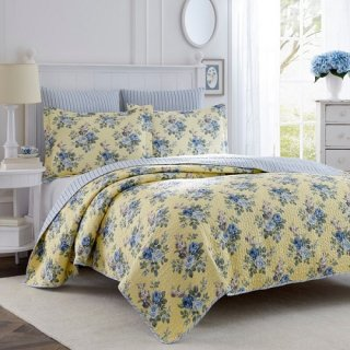 <img class='new_mark_img1' src='https://img.shop-pro.jp/img/new/icons34.gif' style='border:none;display:inline;margin:0px;padding:0px;width:auto;' />SALE!Laura Ashley(ローラアシュレイ) ブルーローズ キルトベットカバー2〜3点セット*Linley Reversible Quilt Set