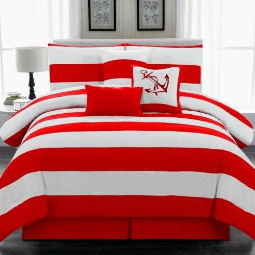 限定SALE! Legacy Decors(レガシーデコール) /ベットリネン7点セット*7 Piece Comforter Set/Red and White Striped