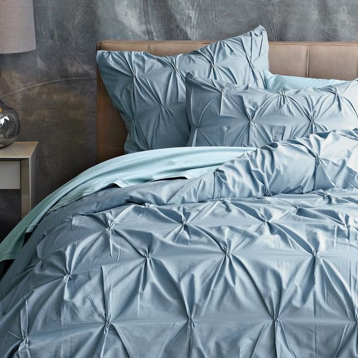 west elm (ウエストエルム)*掛け布団カバー/Organic Cotton Pintuck Duvet Cover/Moonstone