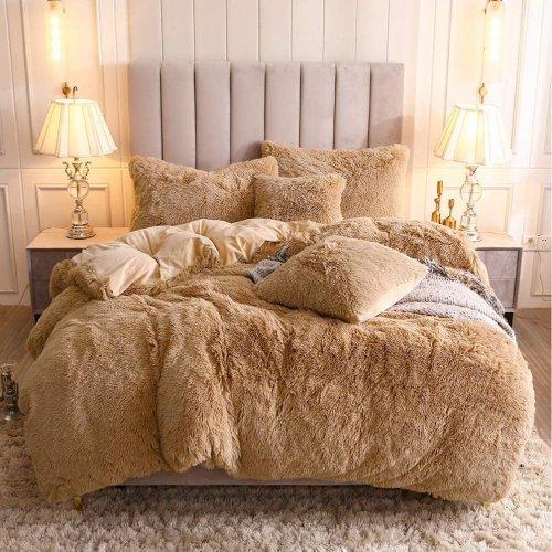 <img class='new_mark_img1' src='https://img.shop-pro.jp/img/new/icons14.gif' style='border:none;display:inline;margin:0px;padding:0px;width:auto;' />もふもふ掛け布団カバー&枕カバー2〜3点セット * Uhamho Faux Fur Velvet Fluffy Bedding Duvet Cover Set / Camel