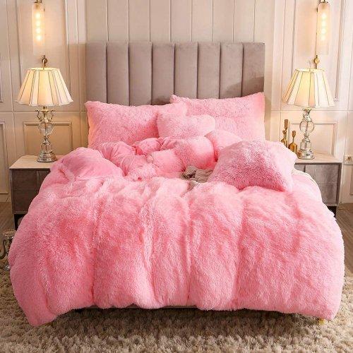 <img class='new_mark_img1' src='https://img.shop-pro.jp/img/new/icons14.gif' style='border:none;display:inline;margin:0px;padding:0px;width:auto;' />もふもふ掛け布団カバー&枕カバー2〜3点セット * Uhamho Faux Fur Velvet Fluffy Bedding Duvet Cover Set / Pink