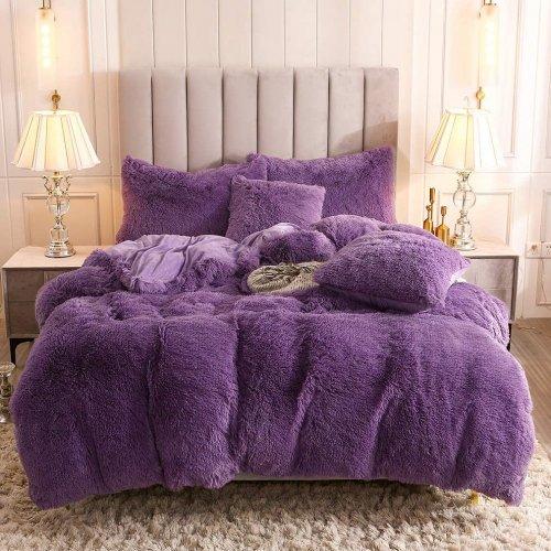 <img class='new_mark_img1' src='https://img.shop-pro.jp/img/new/icons14.gif' style='border:none;display:inline;margin:0px;padding:0px;width:auto;' />もふもふ掛け布団カバー&枕カバー2〜3点セット * Uhamho Faux Fur Velvet Fluffy Bedding Duvet Cover Set / Purple