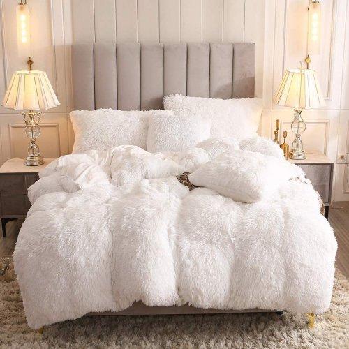 <img class='new_mark_img1' src='https://img.shop-pro.jp/img/new/icons14.gif' style='border:none;display:inline;margin:0px;padding:0px;width:auto;' />もふもふ掛け布団カバー&枕カバー2〜3点セット * Uhamho Faux Fur Velvet Fluffy Bedding Duvet Cover Set / White