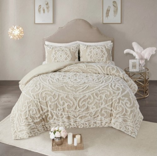 MADISON PARK(マディソンパーク) メダリオン掛け布団2〜3点セット*Virginia  Chenille Medallion Comforter Set / Taupe
