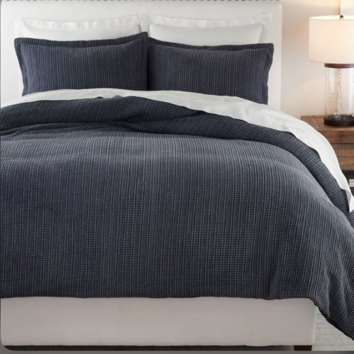 <img class='new_mark_img1' src='https://img.shop-pro.jp/img/new/icons14.gif' style='border:none;display:inline;margin:0px;padding:0px;width:auto;' />Pottery Barn(ポッタリーバーン)ハニカム掛け布団カバー✻Honeycomb Cotton Duvet Cover/ Midnight