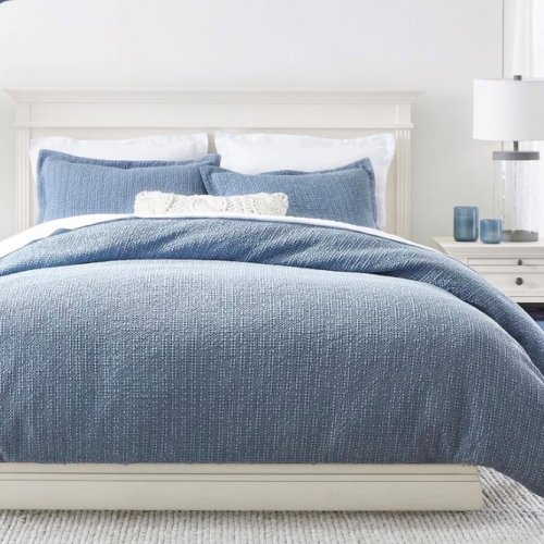 <img class='new_mark_img1' src='https://img.shop-pro.jp/img/new/icons14.gif' style='border:none;display:inline;margin:0px;padding:0px;width:auto;' />Pottery Barn(ポッタリーバーン)ハニカム掛け布団カバー✻Honeycomb Cotton Duvet Cover/ Chambray