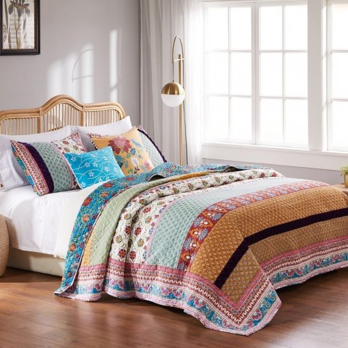 ビンテージスタイル ボヘミアン キルトカバー2〜3点セット*Greenland Home Fashions Thalia Cotton Quilt Set
