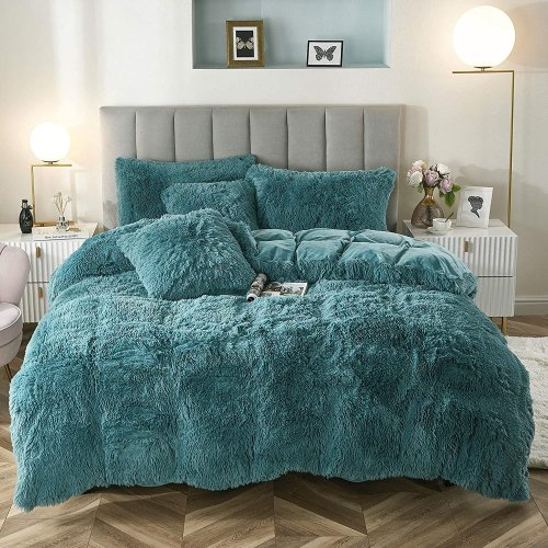 <img class='new_mark_img1' src='https://img.shop-pro.jp/img/new/icons14.gif' style='border:none;display:inline;margin:0px;padding:0px;width:auto;' />もふもふ掛け布団カバー&枕カバー2〜3点セット * Uhamho Faux Fur Velvet Fluffy Bedding Duvet Cover Set / Teal Blue