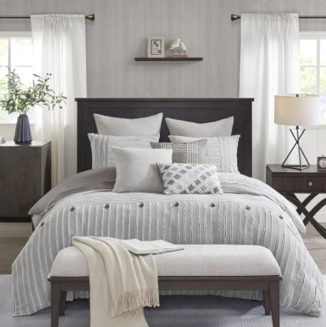 Madison Park Signature(マディソンパーク シグネチャー)ファームハウス掛け布団7〜8点セット * Gray Cotton Clip Jacquard Comforter Set