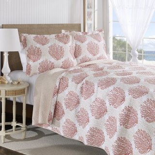 <img class='new_mark_img1' src='https://img.shop-pro.jp/img/new/icons34.gif' style='border:none;display:inline;margin:0px;padding:0px;width:auto;' />Laura Ashley(ローラアシュレイ) キルトベットカバー2〜3点セット*Coral Coast Reversible Cotton 3-piece Quilt Set / Coral