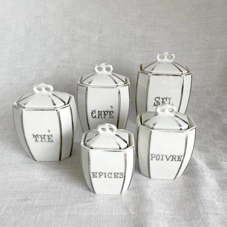 アンティーク陶器キャニスター5個セット
