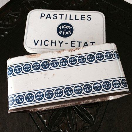 TIN缶 VICHY-ETATの白い缶箱
