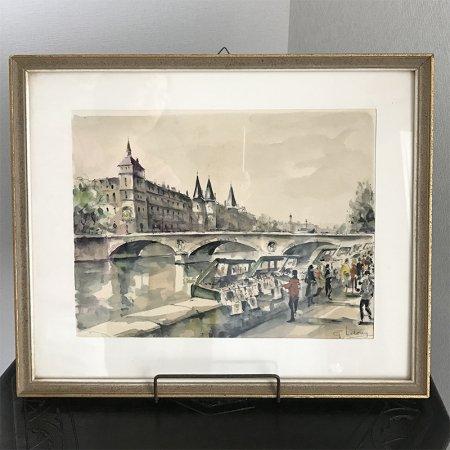 風景画・水彩 パリ・セーヌ河畔  額入り