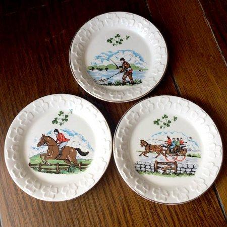 アウトドア風景が描かれたミニ絵皿 3枚組