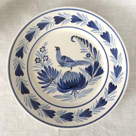 温かみのある手描きカンペール陶器皿 青A