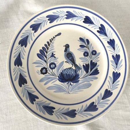 温かみのある手描きカンペール陶器皿 青B
