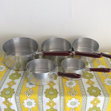フランス アルミの片手鍋5セット ベークライト