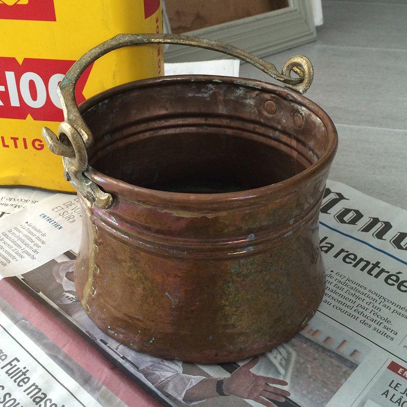 銅 飾りバケツ