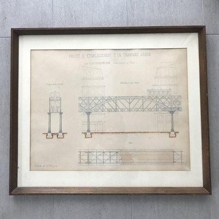 アンティーク デッサン パリ・メトロ 図面