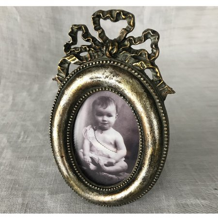 アンティーク リボンのフォトスタンド フォトフレーム(赤ちゃんの写真入り)