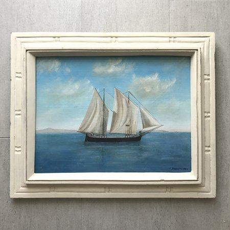 油絵 帆船の油彩画 白の木製額