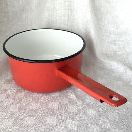 ホーロー片手鍋 赤 大20cm