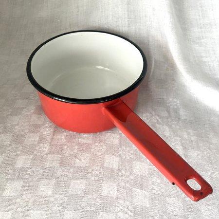 ホーロー片手鍋 赤 中18cm