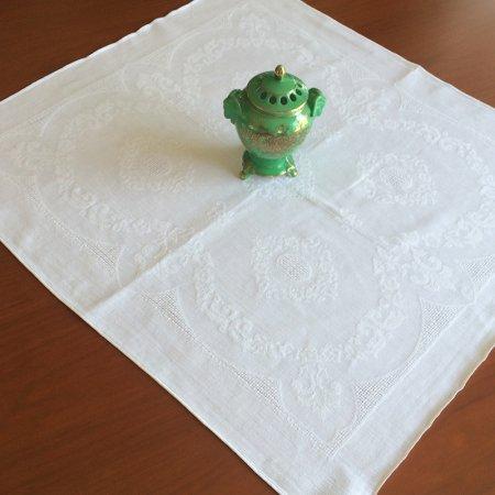 大判ダマスク織 リネン テーブルナプキン  (白)