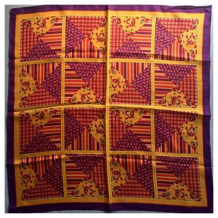ミニスカーフ パッチワーク風 紫とオレンジ