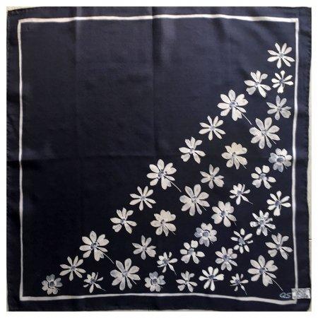 ミニスカーフ QS シルク ネイビー花柄