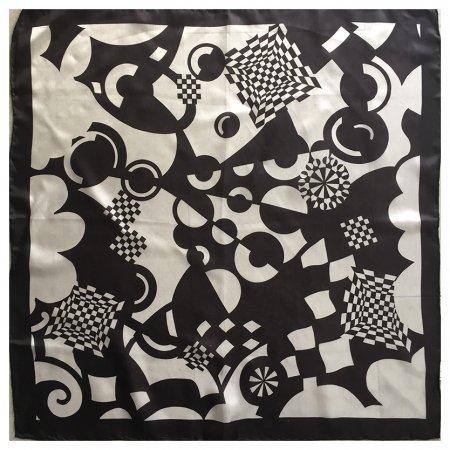 ミニスカーフ ポップな幾何学模様モノクロ