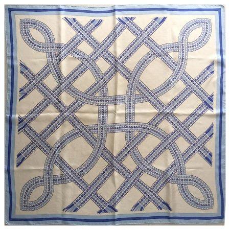 スカーフ エルメスHERMES 組模様ブルー
