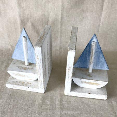 爽やかな水色ヨットの木製ブックエンド(1対)