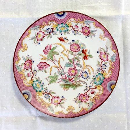 シノワズリ 手描きの花の小皿(PK 蝶と牡丹)