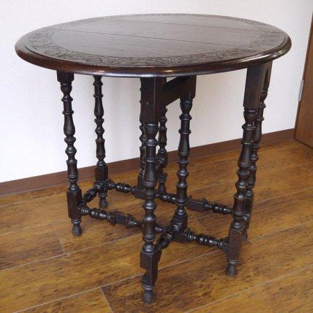 英国家具 飾り彫ゲートレッグテーブル 1920年代