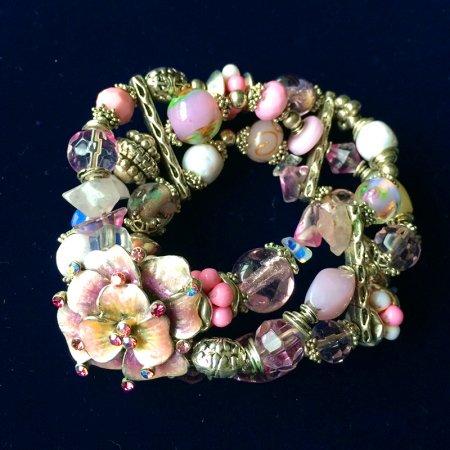 ロマンチックなお花のブレスレット エナメルブラス