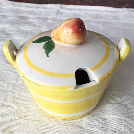 梨の立体つまみつき 陶器のポット
