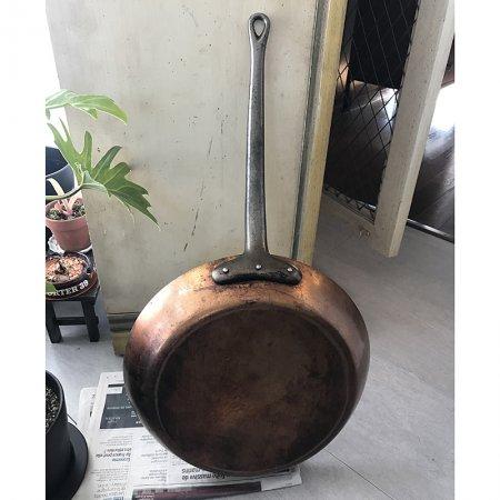大型コッパーパン 銅製片手鍋 本格派フライパン フランス アンティーク
