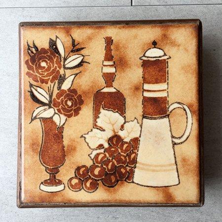 鍋敷き テラコッタタイル静物画