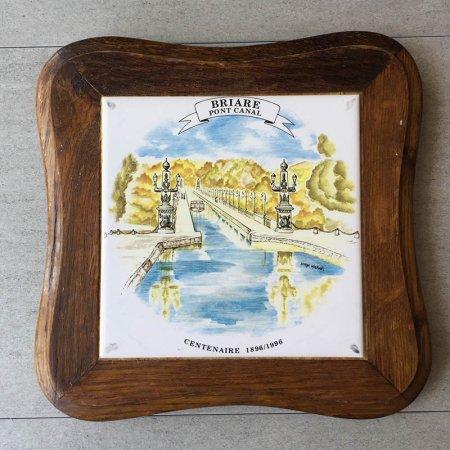 四角形の鍋敷き 運河の風景画