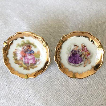 小さなリモージュ飾り小皿ペア(ゴールド)