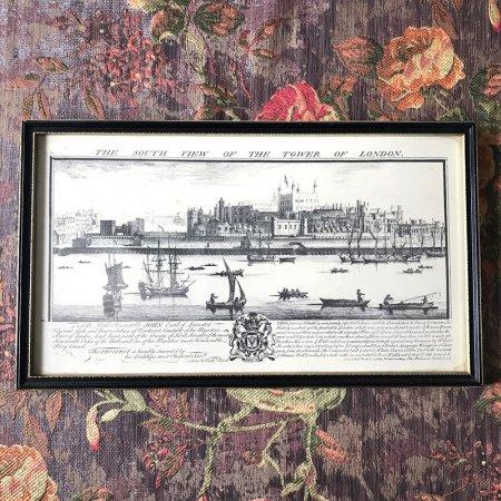 アンティーク ・ペン画 風景画 ロンドン塔