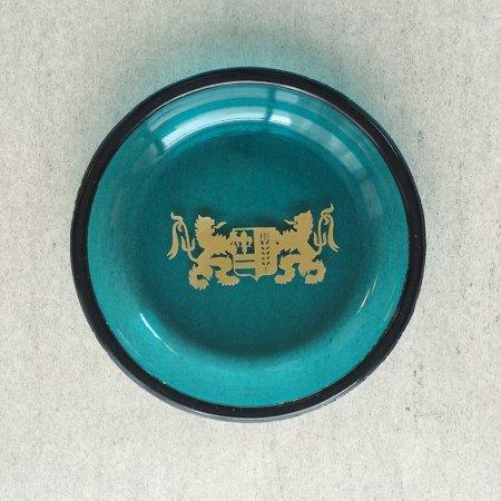 灰皿 ターコイズブルーガラス(獅子の紋章)